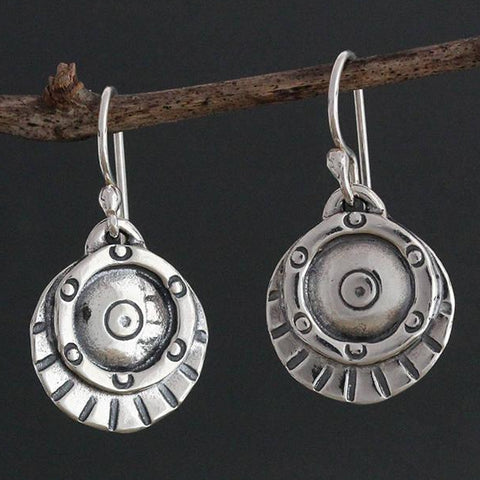 Sterling Silver Etruscan Shield Earrings