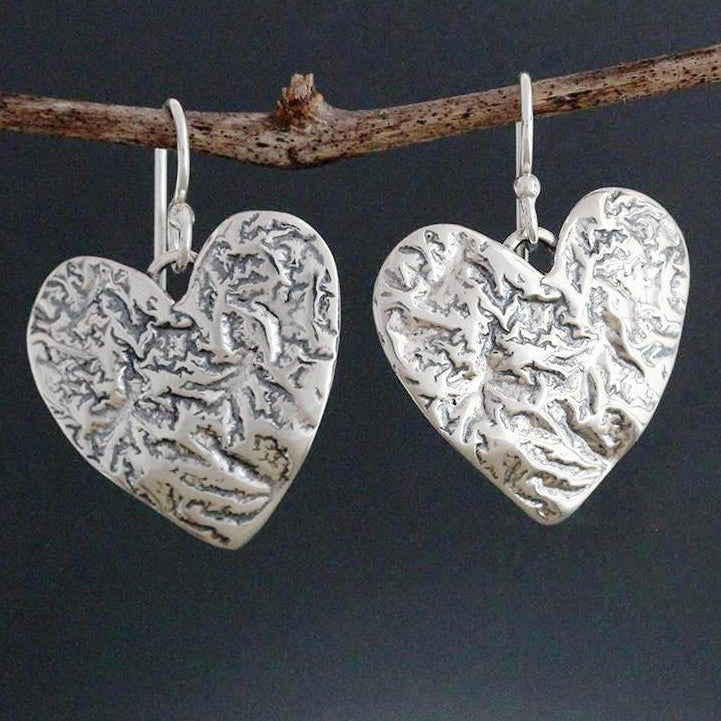 Sterling Silver Reticulated Heart Earrings
