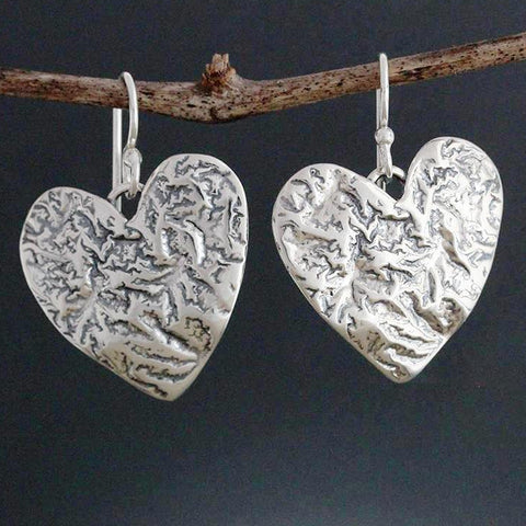 Reticulated Heart Earrings