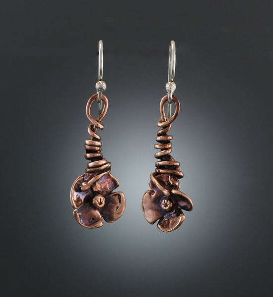 Copper Wrapped Vine Flower Earrings