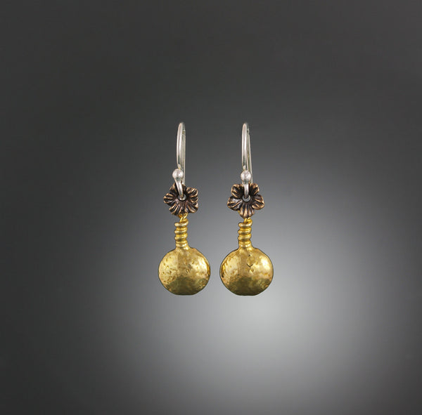 Brass Droplet Earrings with Bronze Floret