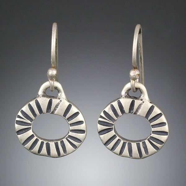 Sterling Silver Radiating Hoop Earrings