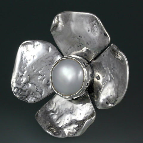 Sterling Silver Large Dogwood Flower with Pearl Ring