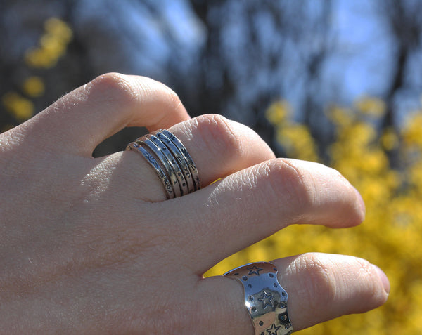 Sterling Silver Stamped Stacking Ring
