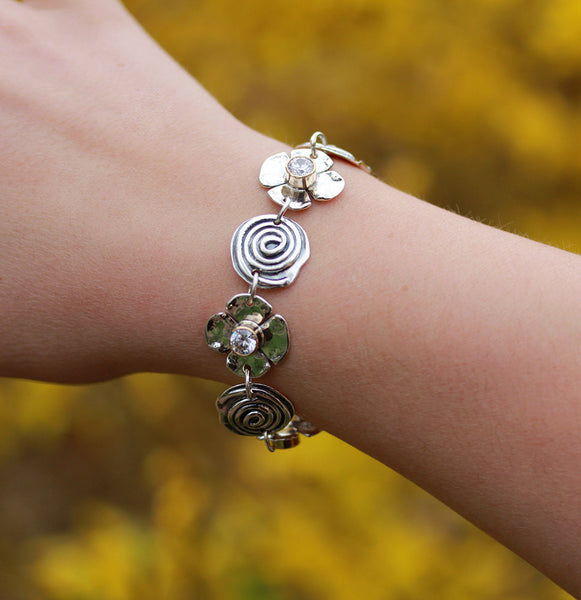Spiral and Dogwood Flower with CZ's in Gold Bezel Bracelet
