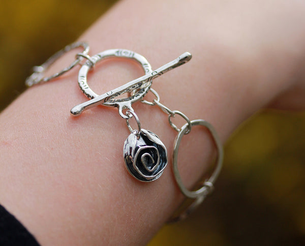 Sterling Silver Hoop Bracelet with Toggle