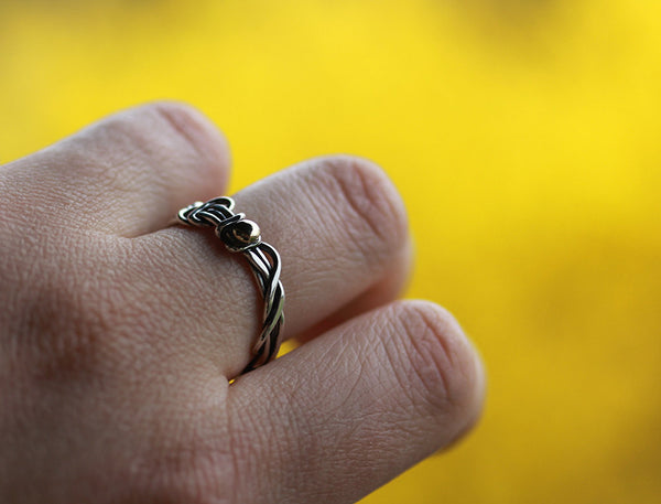 Vine Ring Band with Yellow Gold Accent Ball