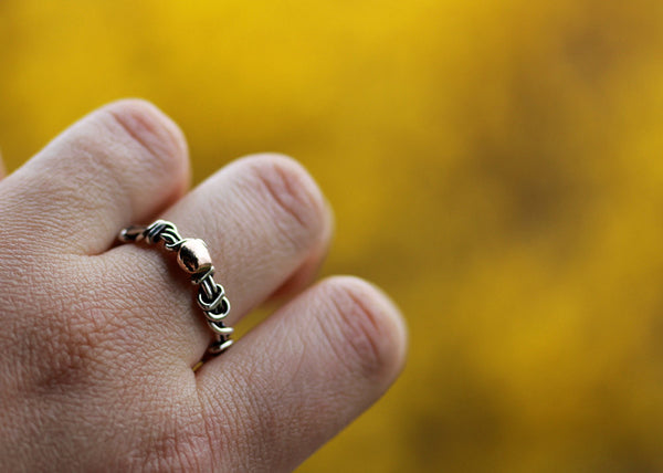 Sterling Silver Vine Ring with Rose Gold Accent