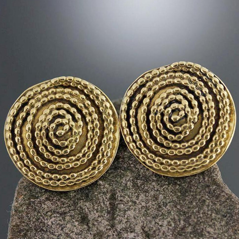 Large Brass Beaded Spiral Earrings