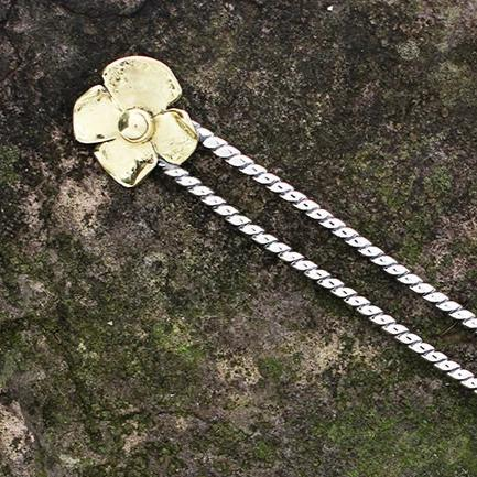 Sterling Silver and Brass Flower Hair Pin