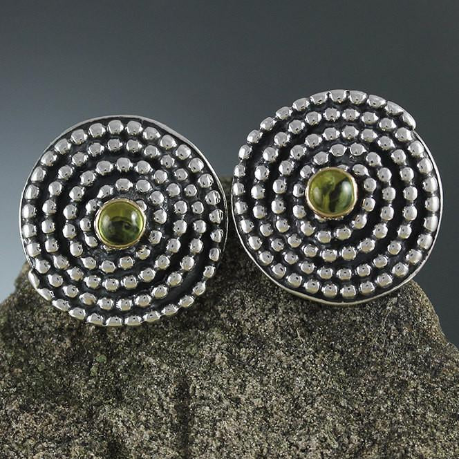 Sterling Silver Beaded Spiral Earrings with Peridot in Gold Bezel