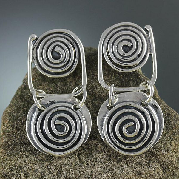 Sterling Silver Spiral with Spiral Drop Earrings