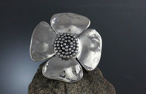 Sterling Silver Large Beaded Spiral Flower Ring