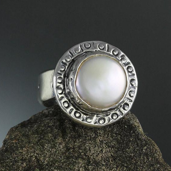 Pearl In Stamped Bezel Ring