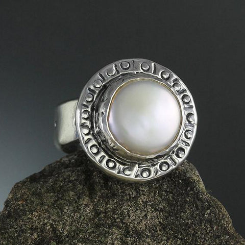 Sterling Silver Pearl In Stamped Bezel Ring