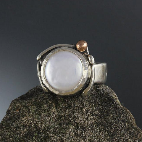 Sterling Silver Pearl Ring with Rose Gold Ball