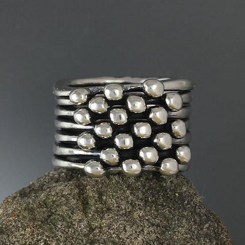 Sterling Silver Seven Band Blanche Ring