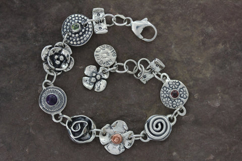 Sterling Silver Mixed Element and Multi Stone Bracelet