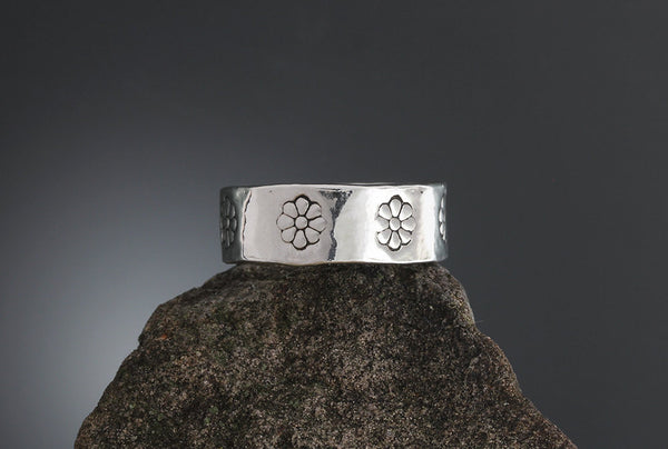 Sterling Silver Heal Stamped Ring