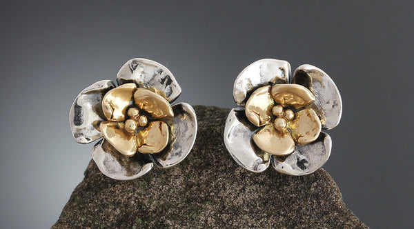 Sterling Silver Double Dogwood Flower Earrings with Gold Center Flower