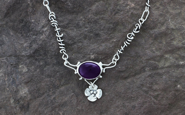 Sterling Silver and Amethyst with Dogwood Flower Drop on Wrapped Vine Necklace