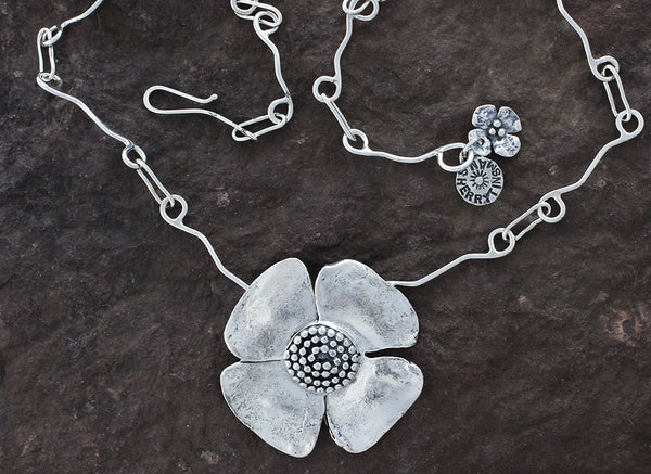 Sterling Silver Large Flower with Beaded Spiral Center Necklace