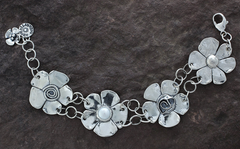 Sterling Silver Four Flower Bracelet with Pearl