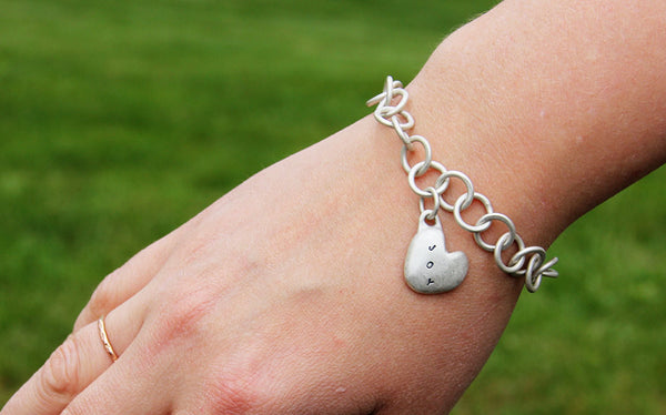 Sterling Silver Joy Heart Charm Bracelet