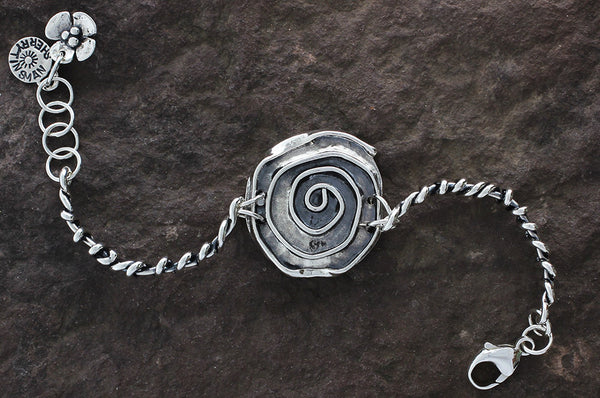 Sterling Silver Rose with Wrapped Vine Sides Bracelet