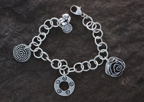 Sterling Silver Three Element Charm Bracelet