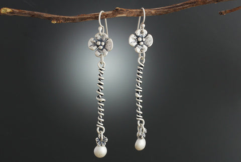 Sterling Silver Dogwood Wrapped Vine Earrings
