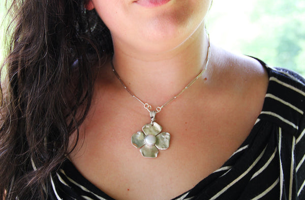 Sterling Silver Flower Pearl Pendant