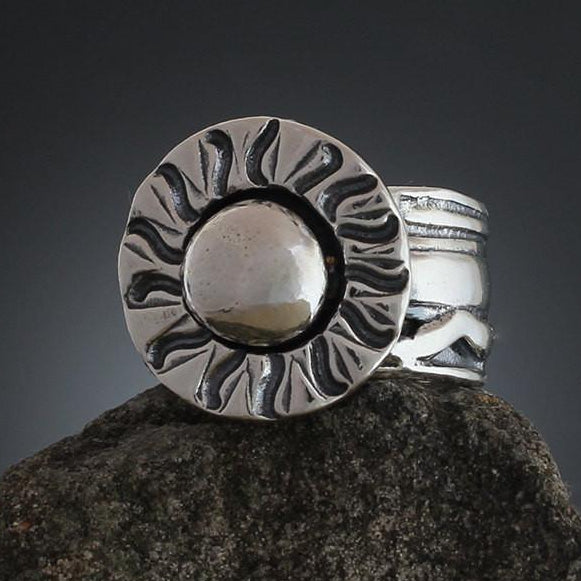 Sterling Silver Wide Band Radial Ring