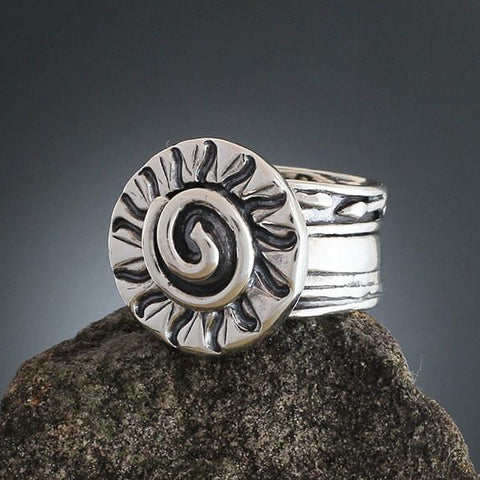 Sterling Silver Wide Band Radial Ring with Spiral
