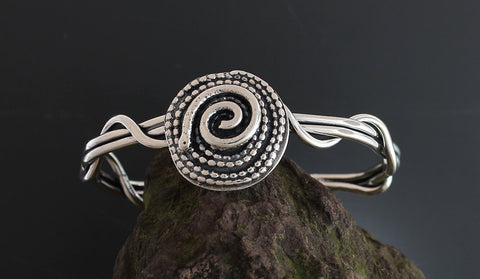 Sterling Silver Beaded Spiral with Swirl Cuff Bracelet