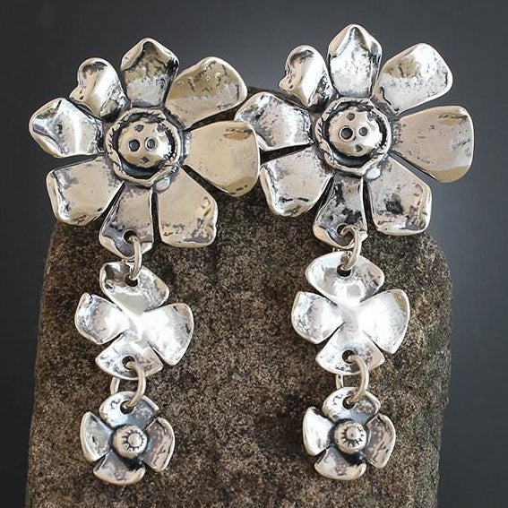 Sterling Silver Sunflower with Two Flower Drop Earrings