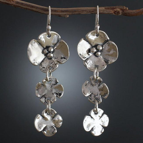 Sterling Silver Dogwood Flower Earrings with two Flower Drop