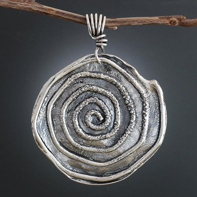 Sterling Silver Large Textured Spiral Pendant