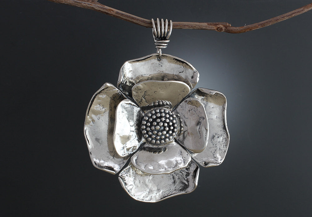 Sterling Silver Large Double Flower with Beaded Spiral Center Pendant