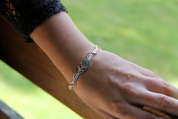 Sterling Silver Wrapped Vine Cuff Bracelet with Beaded Spiral
