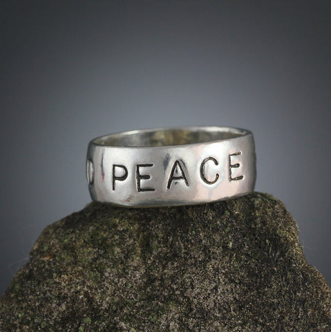 Sterling Silver World Peace Stamped Ring