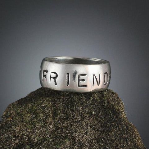 Sterling Silver Friends Stamped Ring