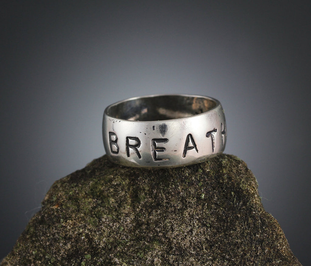 Sterling Silver Breathe Stamped Ring
