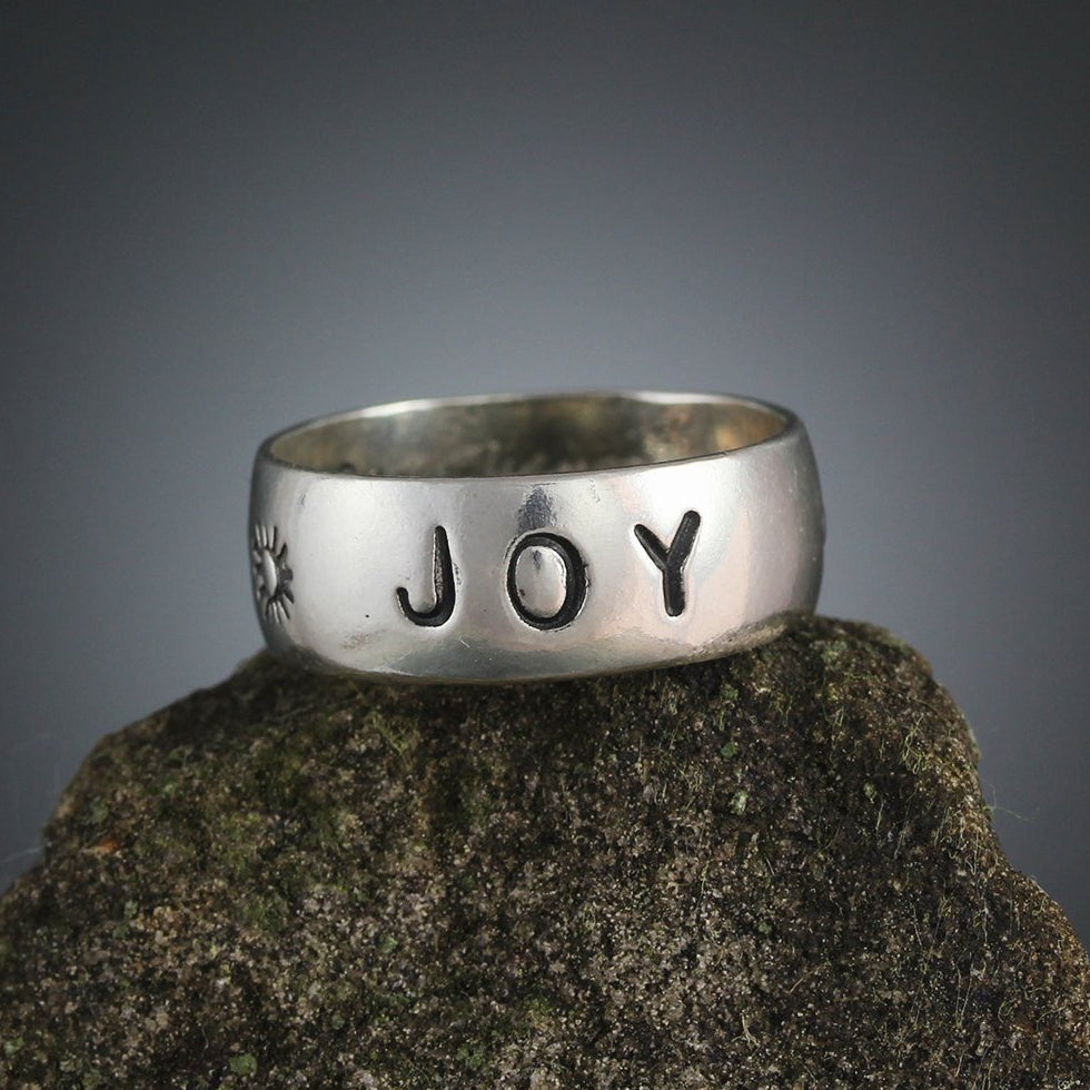 Sterling Silver Joy Stamped Ring