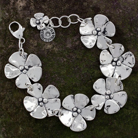 Sterling Silver Dogwood Flower Bracelet