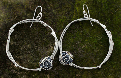 Sterling Silver Large Vine Hoop Earrings with Rose Flower