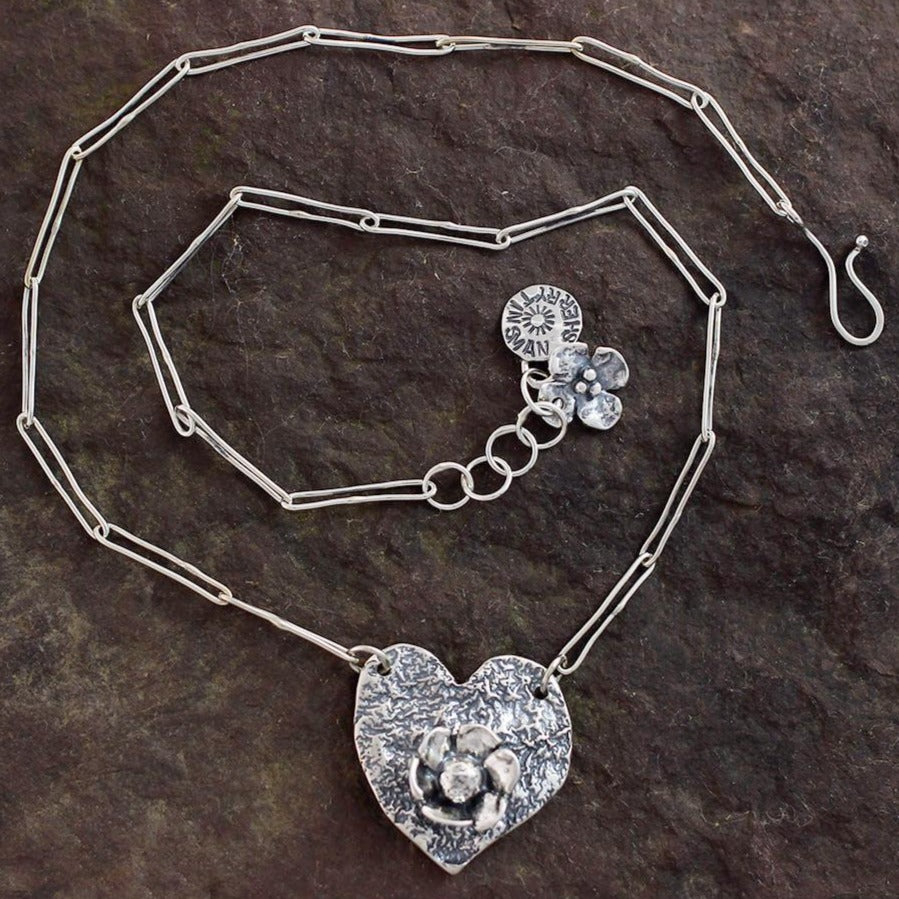 Sterling Silver Textured Heart with Daisy Flower Necklace
