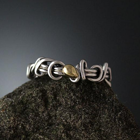 Sterling Silver Vine Ring Band with Yellow Gold Accent Ball