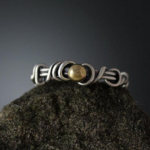 Sterling Silver Wrapped Vine Ring with Yellow Gold Accent - Size 10 1/4