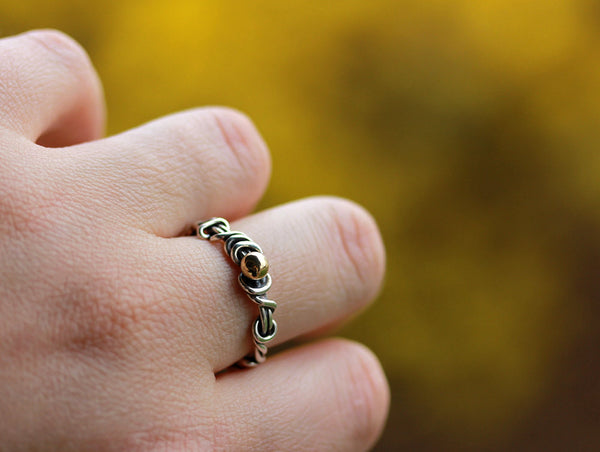 Wrapped Vine Ring with Yellow Gold Accent - Size 10 1/4